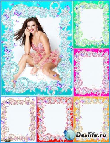 Набор разноцветных рамок для фото - Цветочные орнаменты