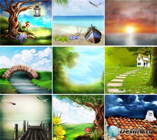 Красочные рисованные фоны