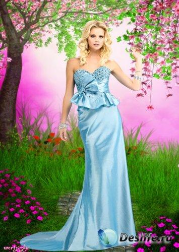 Женский костюм - Очаровательная и таинственная девушка  в голубом вечернем  ...
