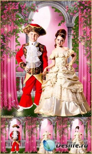 Многослойный парный детский костюм - Принц и принцесса среди чудесных роз