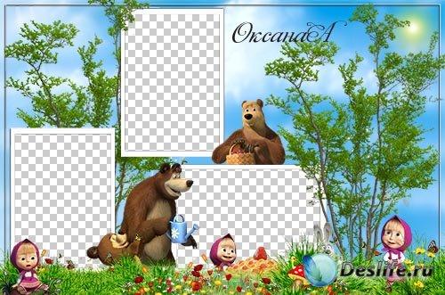 Детская рамка на 3 фото – Лето с Машей и медведем