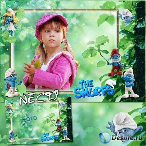 Детская фоторамка со смурфами - В чудесном лесу