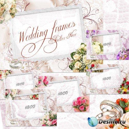 Набор из шести свадебных рамок с цветами кольцами PNG
