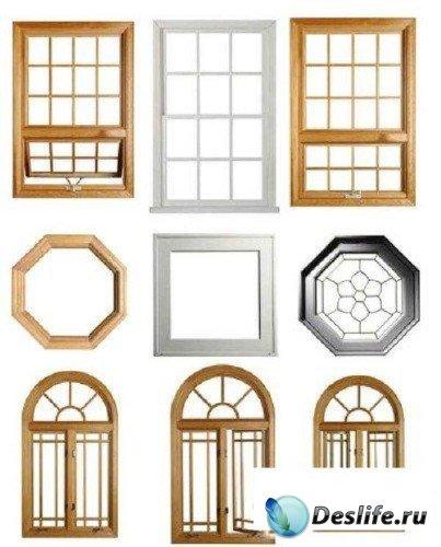 Фотосток: окна и оконные системы на белом фоне