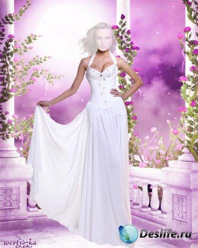 Женский костюм - Девушка в длинном белом платье