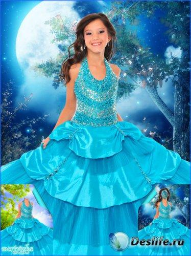 Многослойный детский psd костюм - Девочка в нарядном платье цвета аквамарин ...