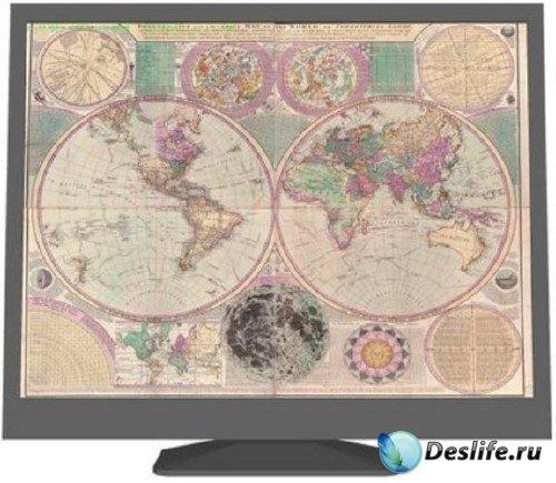 Старая цветная карта мира
