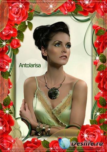 Рамка для фото – Красная роза (символ любви и красоты)