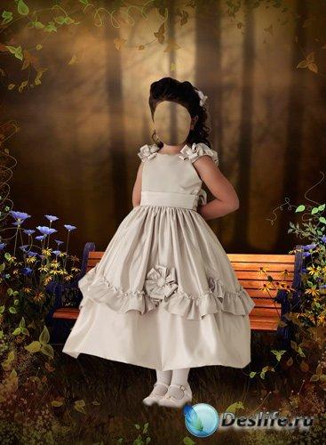 Костюм для фотошопа – Девочка в красивом белом платье