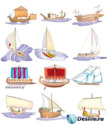 Векторный сток: парусники и яхты (древние и современные)