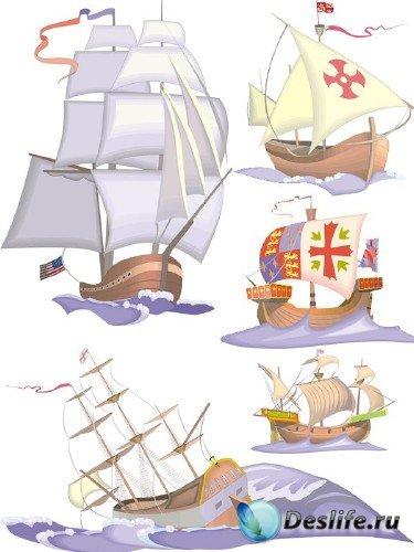 Векторный сток: корабли, парусники, каравеллы, фрегаты и яхты