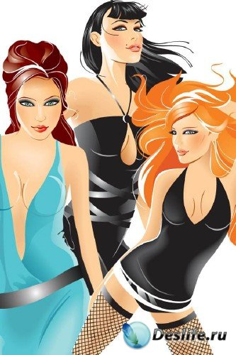 Векторные гламурные девушки на вечеринке (часть 3)