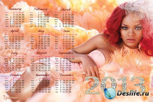 Календарь на 2013 и 2014 года - Rihanna (Рианна)