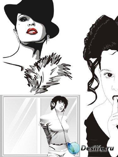 Векторные девушки в черно-белом исполнении (часть третья)