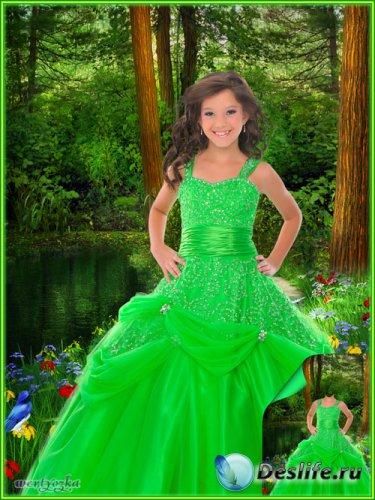 Многослойный детский psd костюм - Девочка в ярко-зеленом платье словно лесн ...