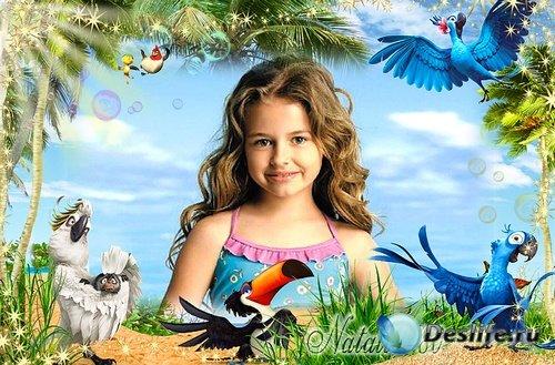 Веселая  рамочка для оформления детских фото - Отдых на море с героями м/ф  ...