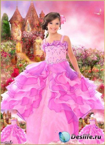 Многослойный детский psd костюм - Прекрасная принцесса у замка с дивными ро ...