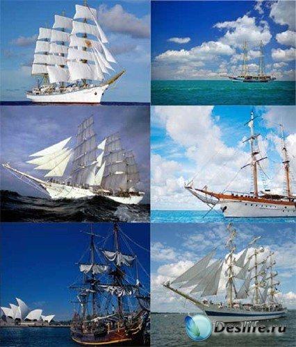 Фотосток: парусники, фрегаты, каравеллы, яхты (водный транспорт)