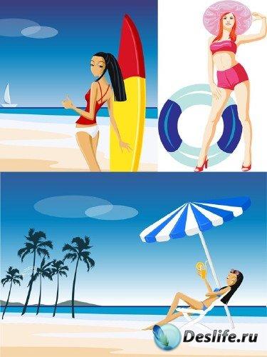 Векторный сток: люди на пляже