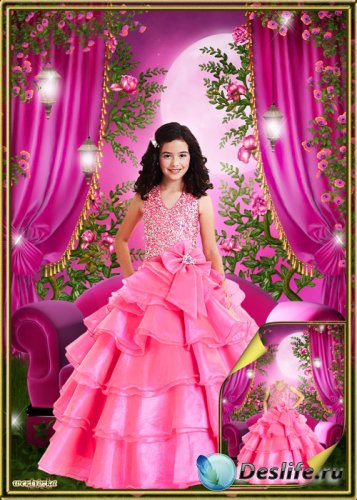Многослойный детский psd костюм - Очаровательная маленькая принцесса в пышн ...