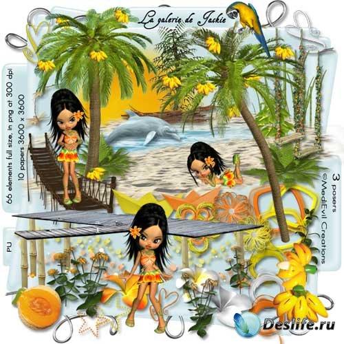 Симпатичный морской скрап-набор - Принцесса тропиков