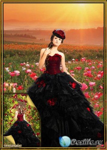 Многослойный женский psd костюм - Девушка в шикарном черном платье с красны ...
