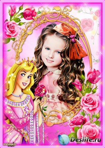 Детская рамка для фотошопа - Принцесса с розой