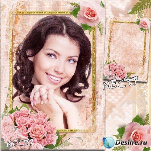 Романтичная нежная рамка с розовыми розами - Розовое изящество