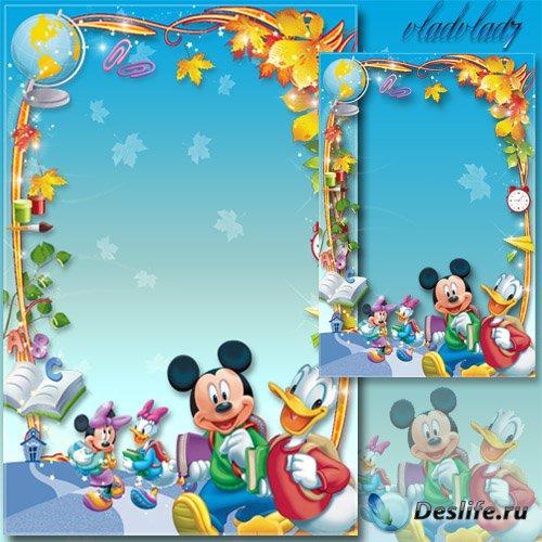 Школьная рамка для Photoshop - 1 сентября, Микки Маус и Дональд Дак
