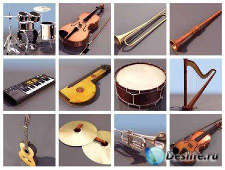 3d модели музыкальных инструментов