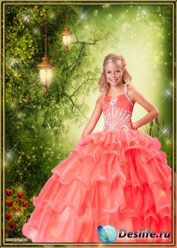 Детский костюм для фотошопа - Шикарное ярко-оранжевое платье для девочки
