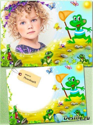 Детская рамка для Photoshop – Лягушачьи игры
