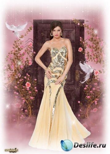 Женский костюм для фотошопа - В золотисто-кремовом платье
