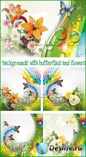 Векторный набор фонов с розами и разноцветными бабочками