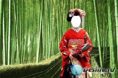 Костюм для фотошопа - Японская девушка в бамбуковой роще