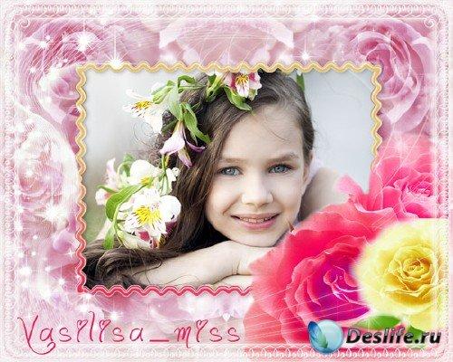 Красивая романтическая фоторамочка для фотошопа с розами и блеском
