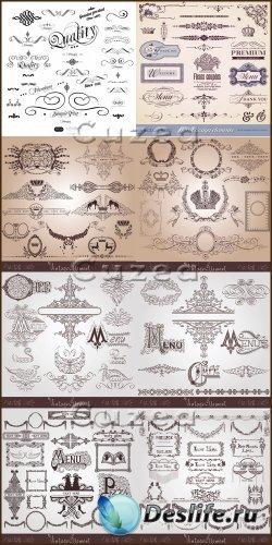 Векторные винтажные орнаменты Меню