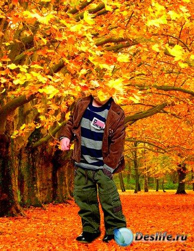 Костюм для фотошопа – Мальчик в осеннем лесу