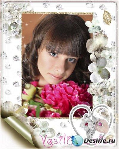 Красивая романтическая фоторамка для фотошопа с цветами и нежным сверкающим ...