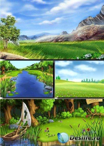 Растровый клипарт - Сказочные летние фоны