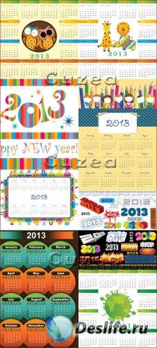 Векторный набор календарей на 2013 год