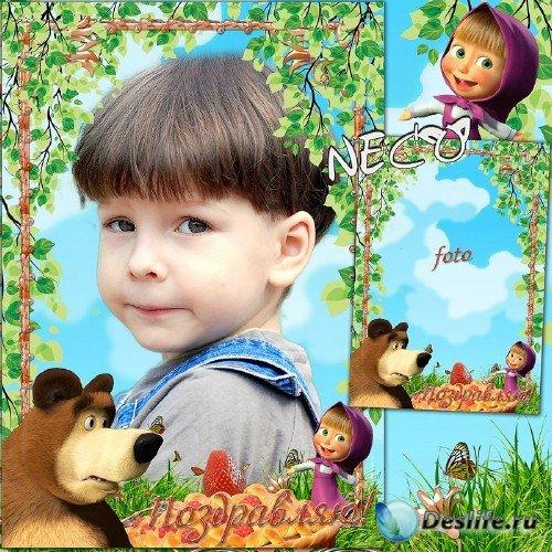 Детская поздравительная рамка с Машей и медведем 2