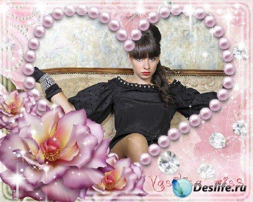 Красивая романтическая фоторамка для фотошопа с розами и нежным блеском для ...