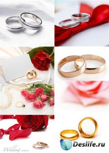 Растровый клипарт - Свадебные кольца и цветы