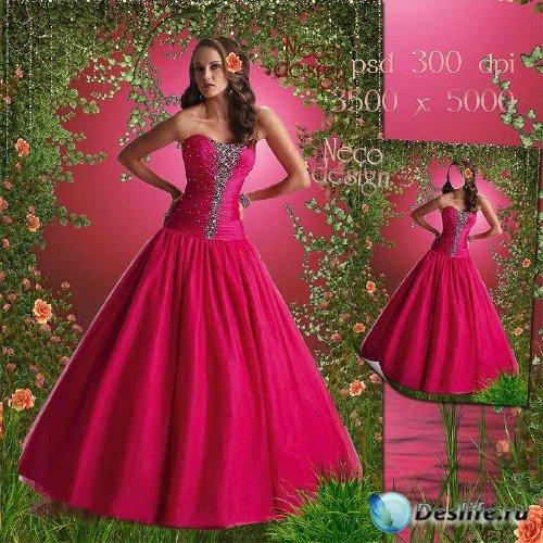 Женский костюм - В бальном розовом платье в розовом саду