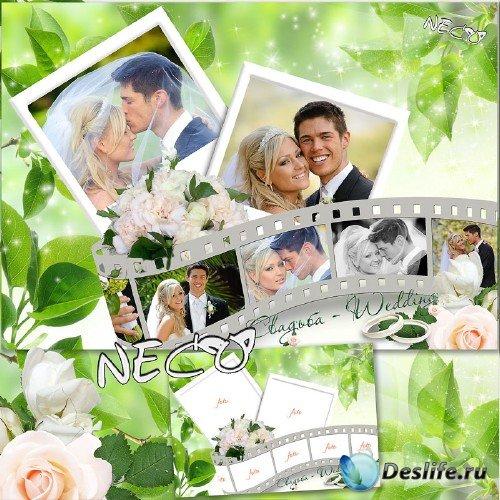 Свадебная рамка - коллаж на семь фотографий с фотоплёнкой на фоне зелени -  ...