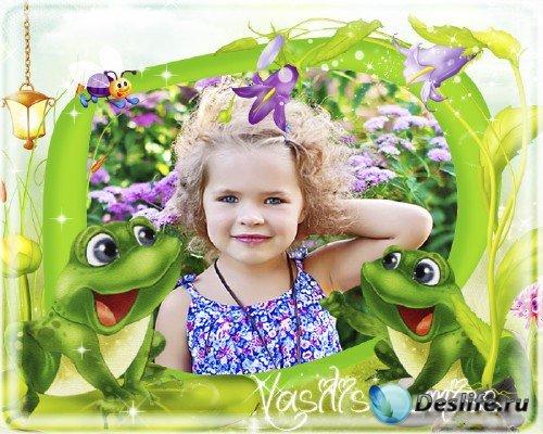 Весёлая детская рамочка для фотошопа с весёлыми лягушатами