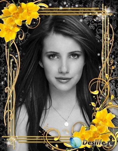 Рамка для фото –  Лилии желтые