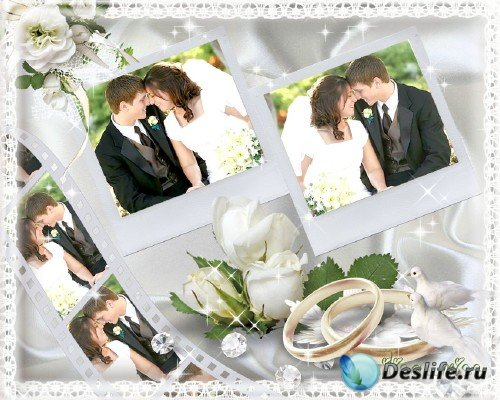 Свадебная рамочка для фотошопа с кадрами плёнки,обручальными кольцами и бел ...