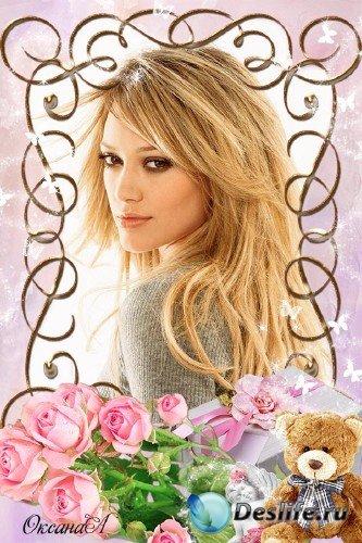 Романтическая рамка для женского фото – Медведь с подарком и розовые розы л ...